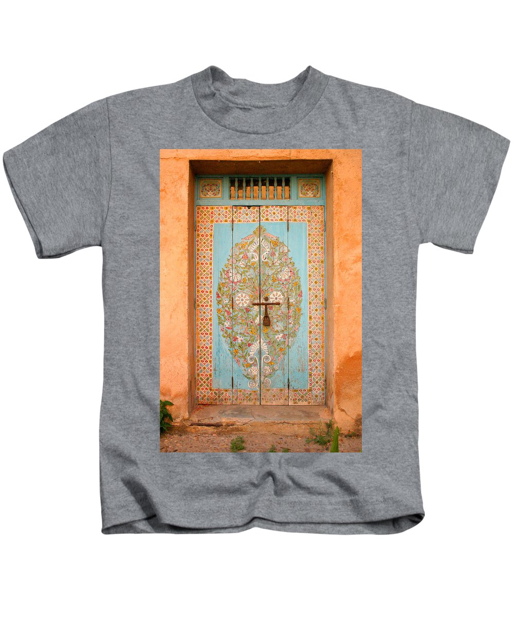 Door Kids T-Shirt featuring the photograph Colourful Moroccan Entrance Door Sale Rabat Morocco by Ralph A Ledergerber-Photography
