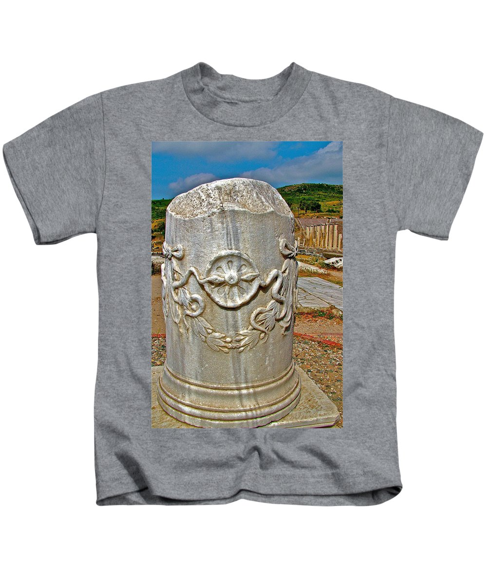 Column Along Sacred Road To Asclepion In Pergamum Kids T-Shirt featuring the photograph Column Along Sacred Road In Pergamum-turkey by Ruth Hager
