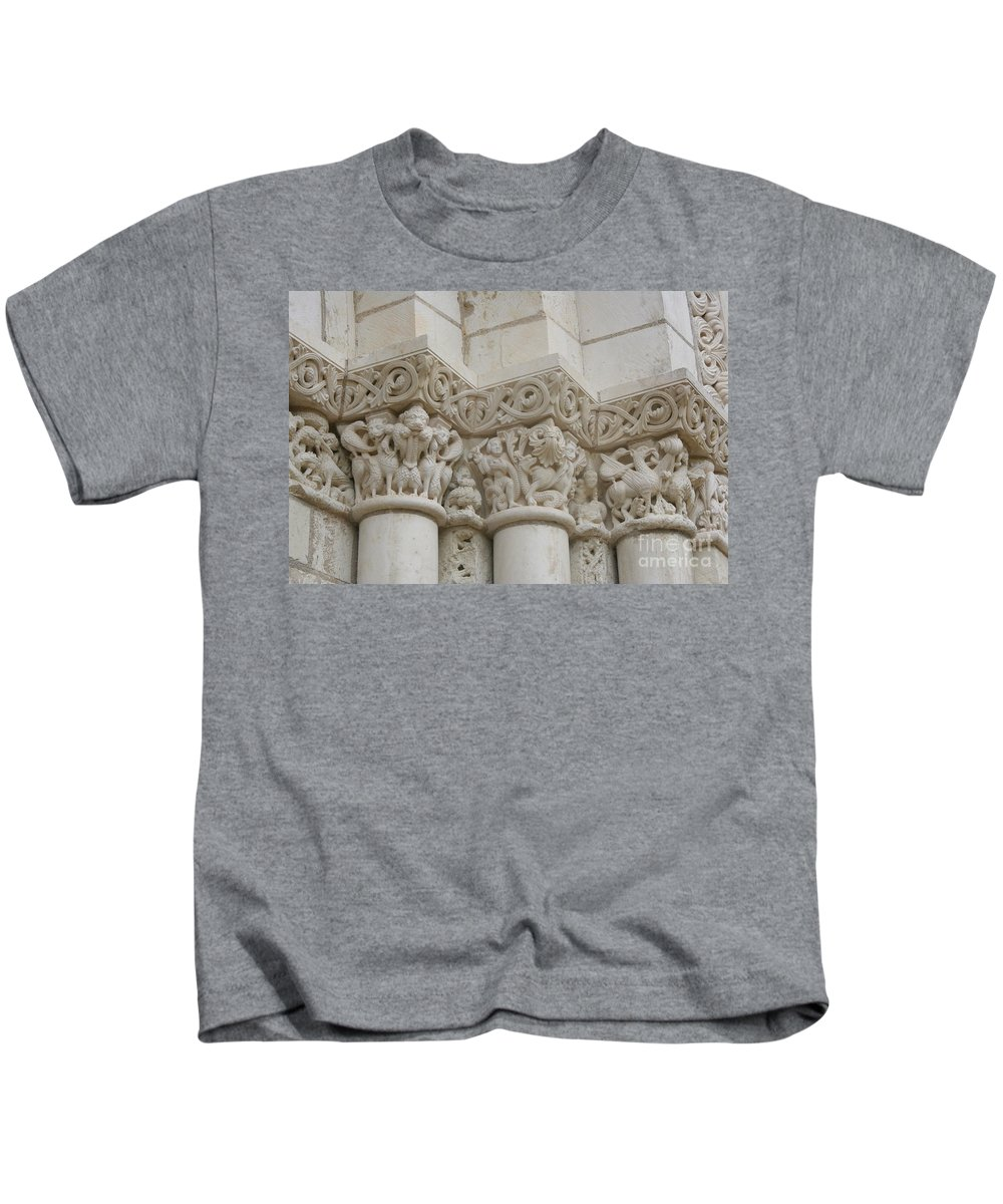 Frieze Kids T-Shirt featuring the photograph Column Relief Abbey Fontevraud by Christiane Schulze Art And Photography