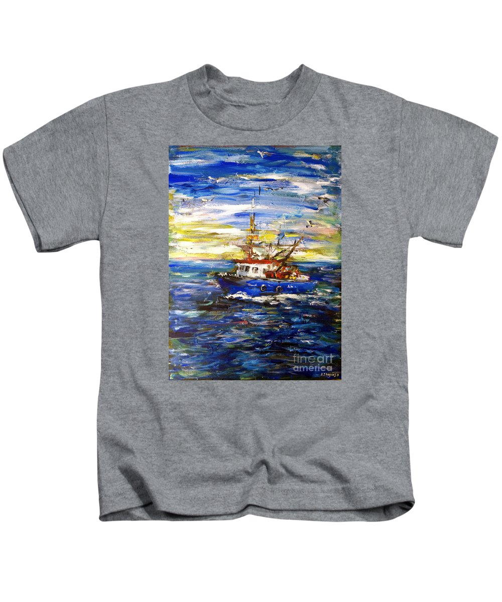 Fishing Boat Kids T-Shirt featuring the painting Coming Back by Arturas Slapsys