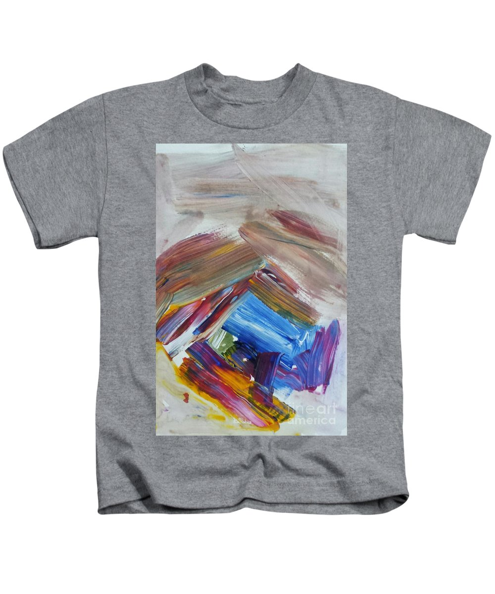 Abstract Kids T-Shirt featuring the painting Coming Out by Sherry Harradence