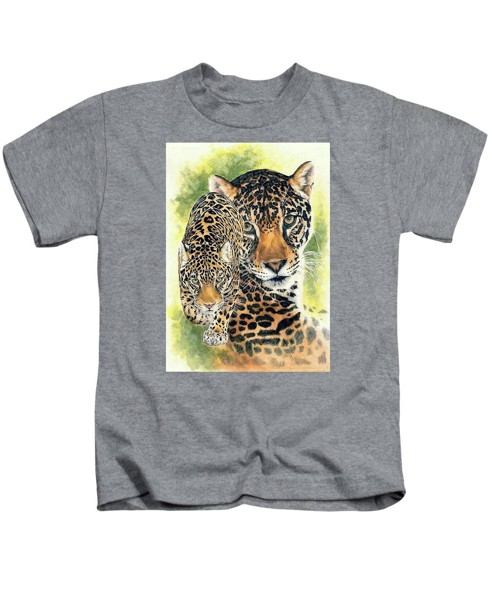 Jaguar Kids T-Shirt featuring the mixed media Compelling by Barbara Keith