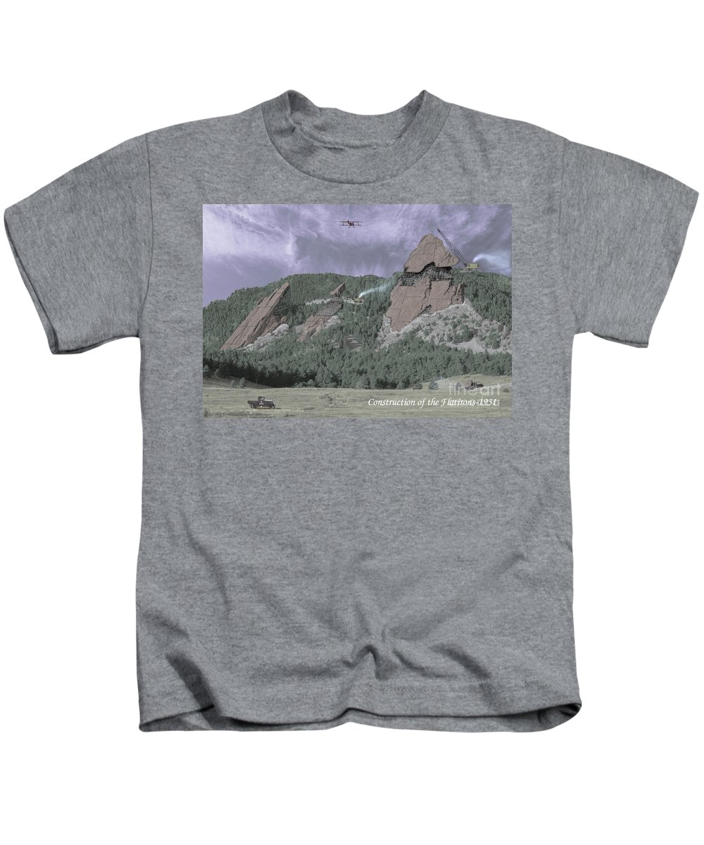 Boulder Kids T-Shirt featuring the photograph Construction Of The Flatirons - 1931 by Jerry McElroy