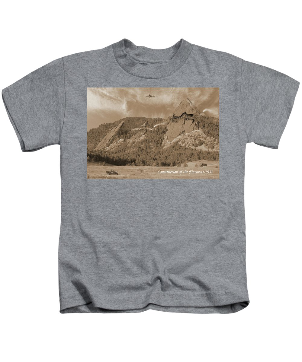 Boulder Kids T-Shirt featuring the photograph Construction Of The Flatirons - 1931 - Sepia by Jerry McElroy