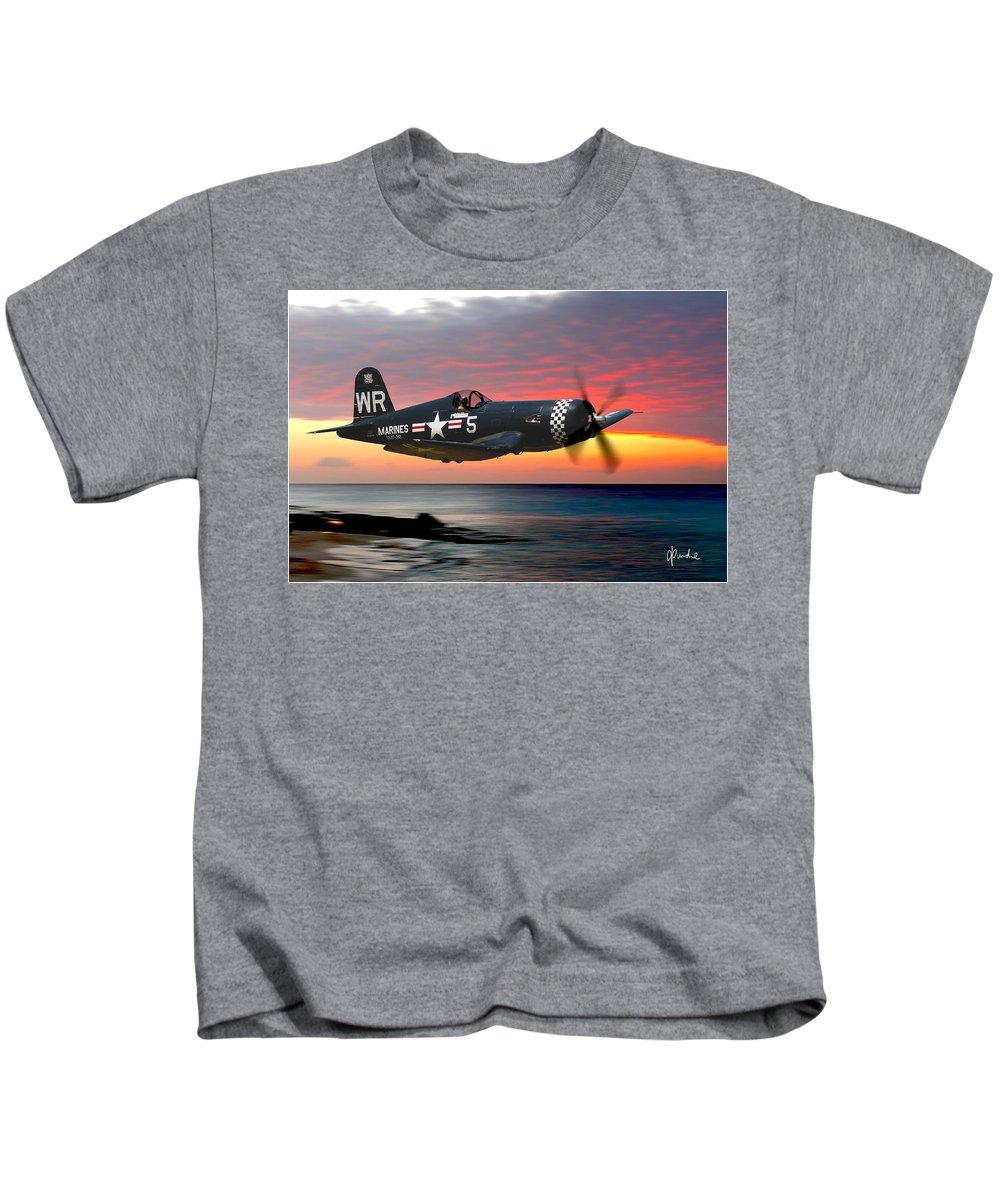 F4u Kids T-Shirt featuring the photograph Corsair At Sundown by Craig Purdie