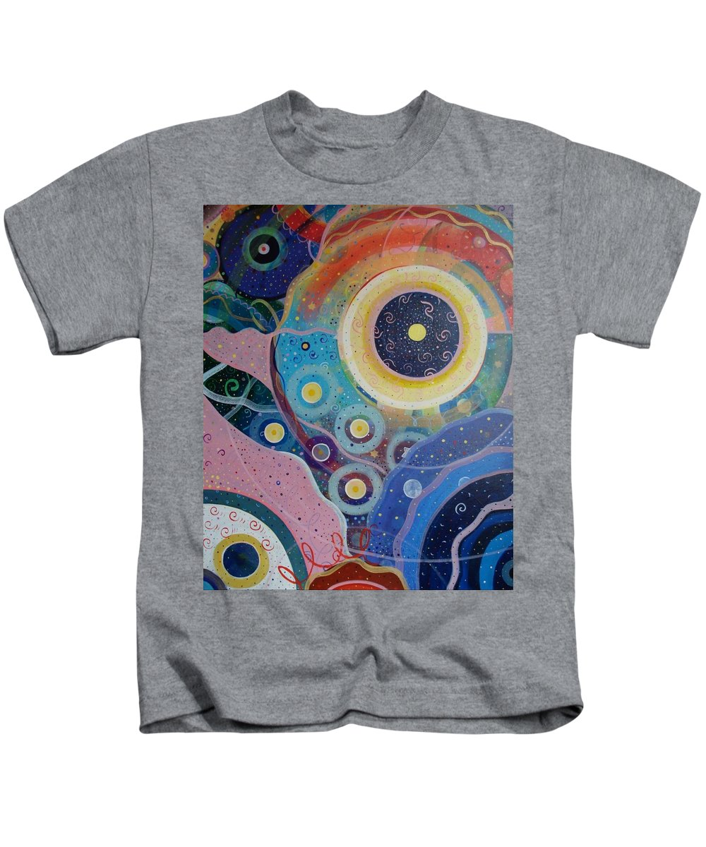 Circles Kids T-Shirt featuring the painting Cosmic Carnival Vl Aka Circles by Helena Tiainen