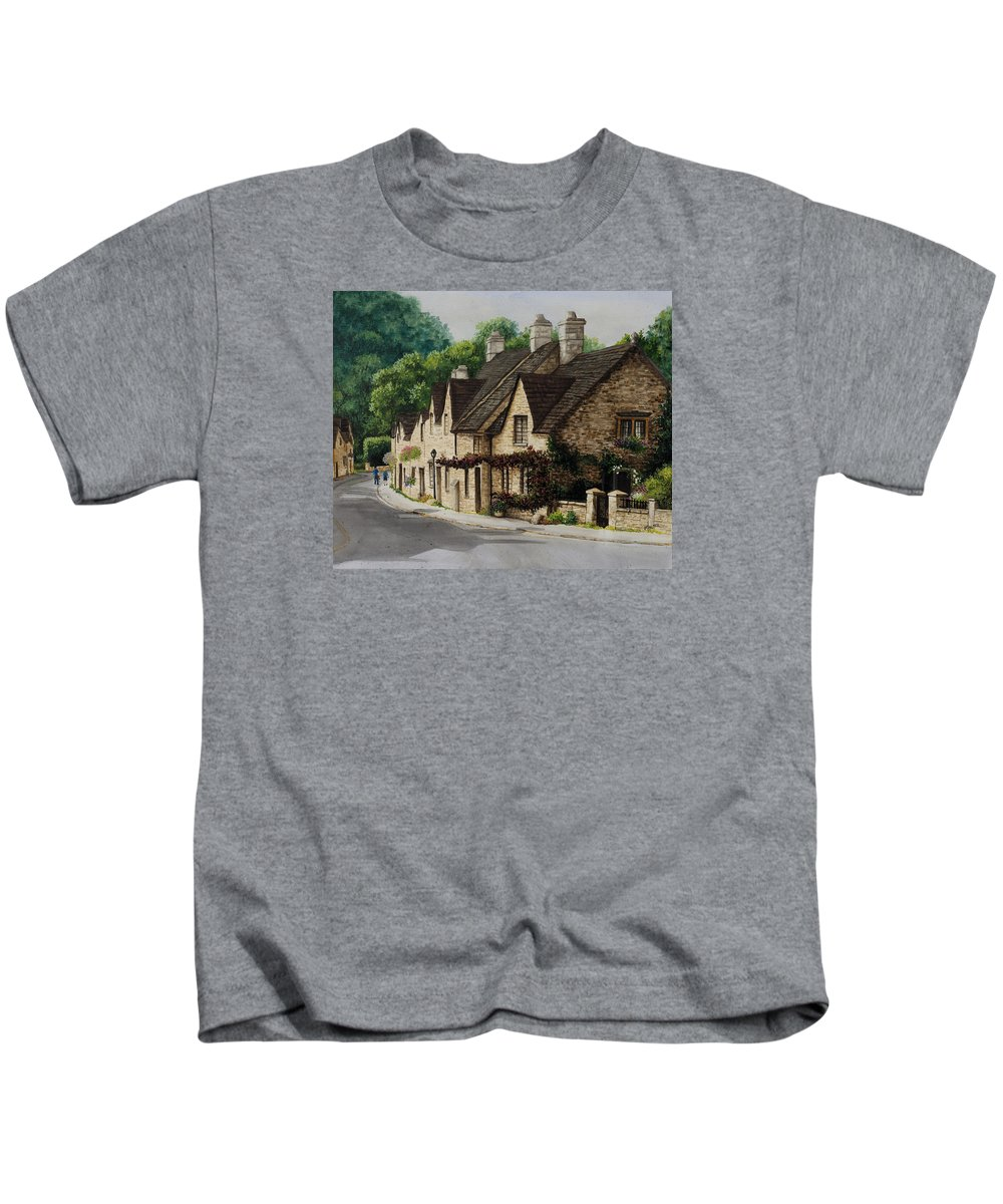 Architecture Kids T-Shirt featuring the painting Cotswold Street by Mary Palmer