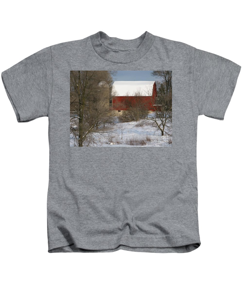 Winter Kids T-Shirt featuring the photograph Country Winter by Ann Horn