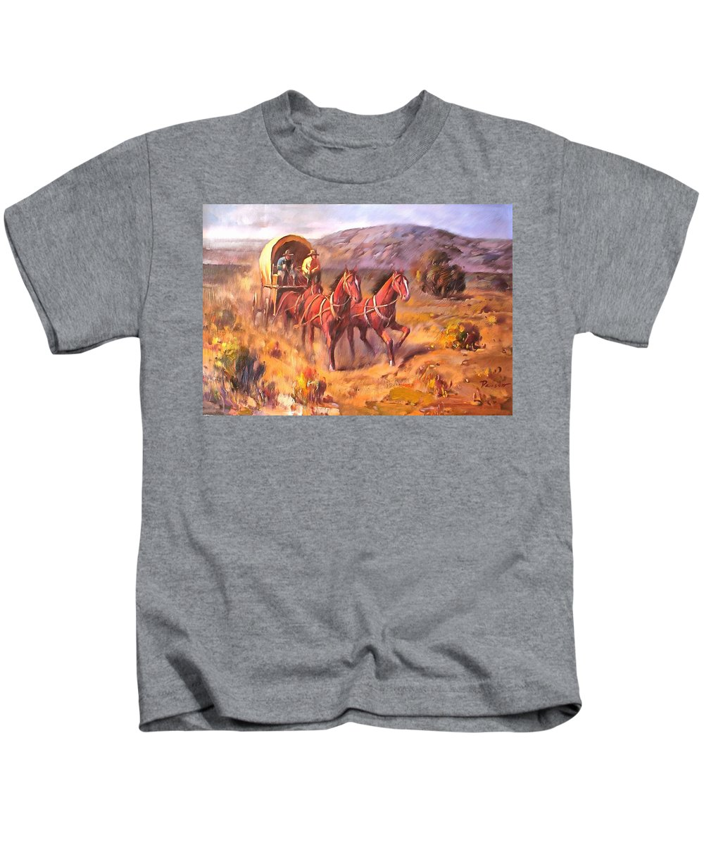 Studio Artist Kids T-Shirt featuring the painting Covered Wagon by Parsons