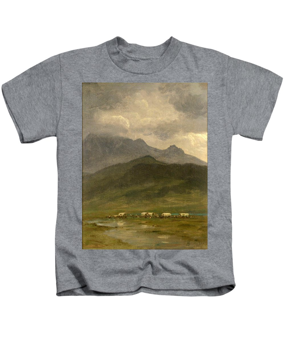 Covered Wagons Kids T-Shirt featuring the painting Covered Wagons by Albert Bierstadt