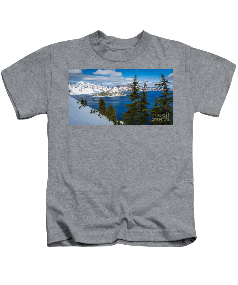 America Kids T-Shirt featuring the photograph Crater Lake Winter Panorama by Inge Johnsson