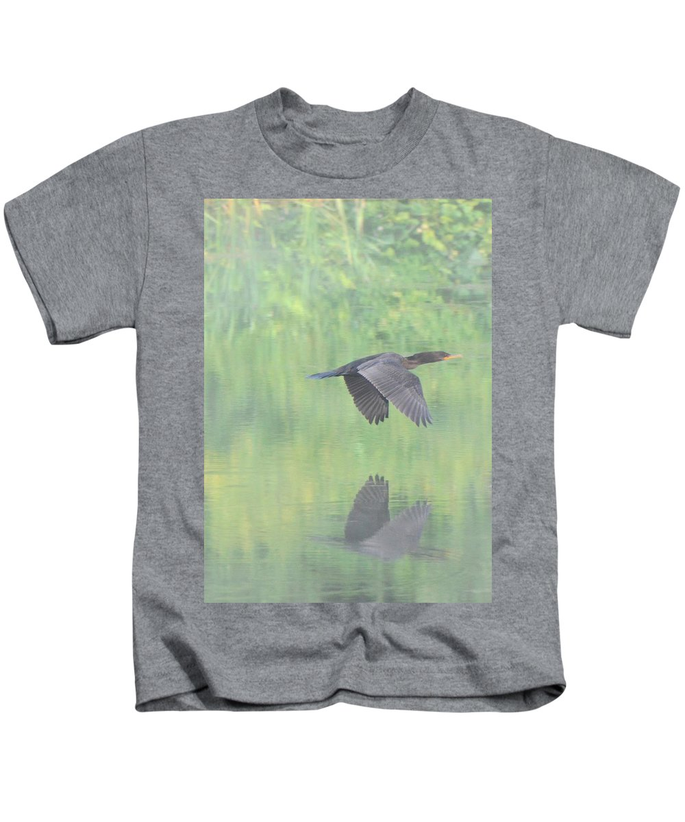 Cormorant Kids T-Shirt featuring the photograph Crested Cormorant by Amy Porter