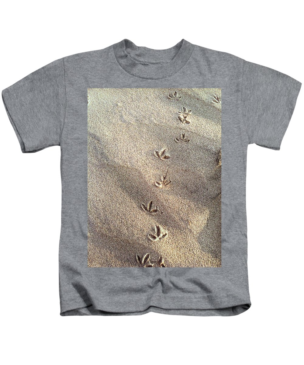 Beach Kids T-Shirt featuring the photograph Critter Tracks In The Sand by Gray Artus