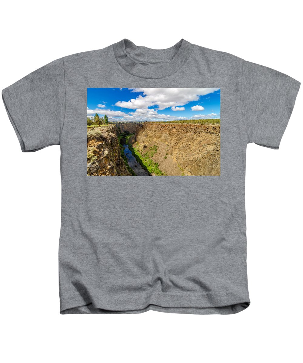 Bridge Kids T-Shirt featuring the photograph Crooked River Canyon And Bridge by Jess Kraft