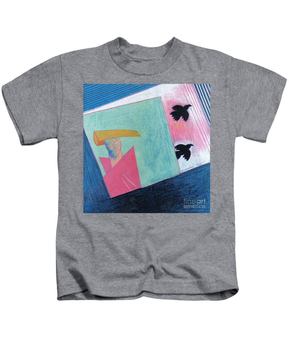 Abstract Kids T-Shirt featuring the painting Crows And Geometric Figure by Genevieve Esson