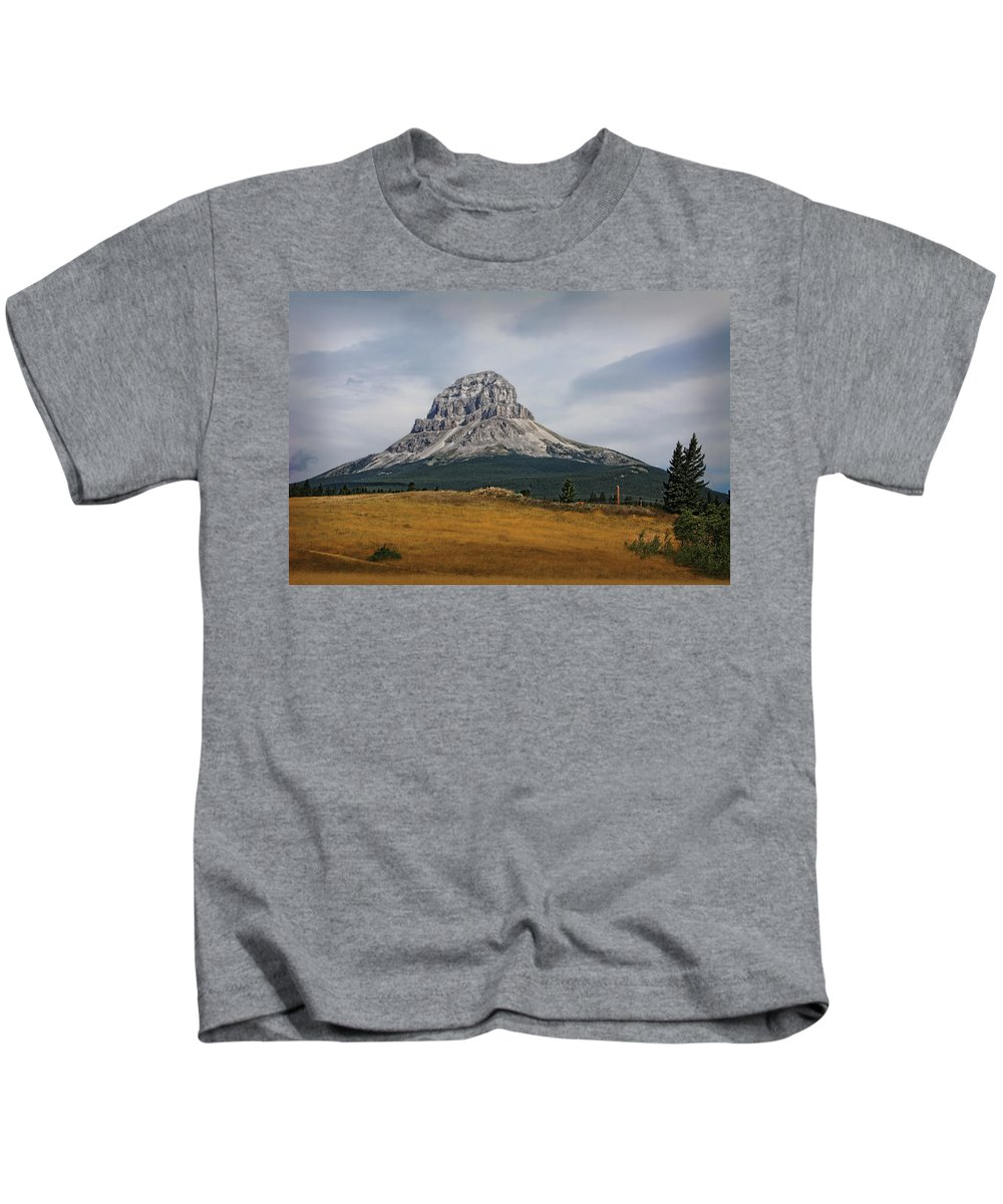 Mountain Kids T-Shirt featuring the photograph Crowsnest Mountain by Terry Fleckney