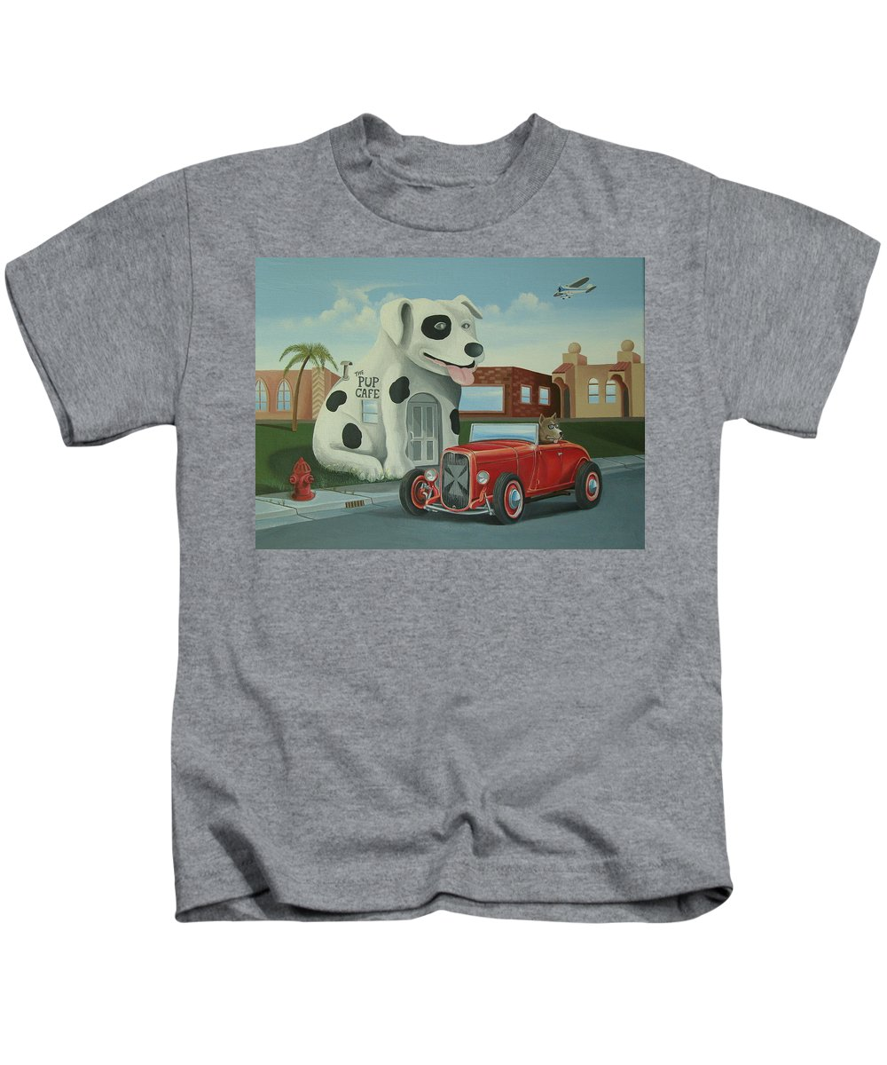 Hotrod Kids T-Shirt featuring the painting Cruisin' At The Pup Cafe by Stuart Swartz