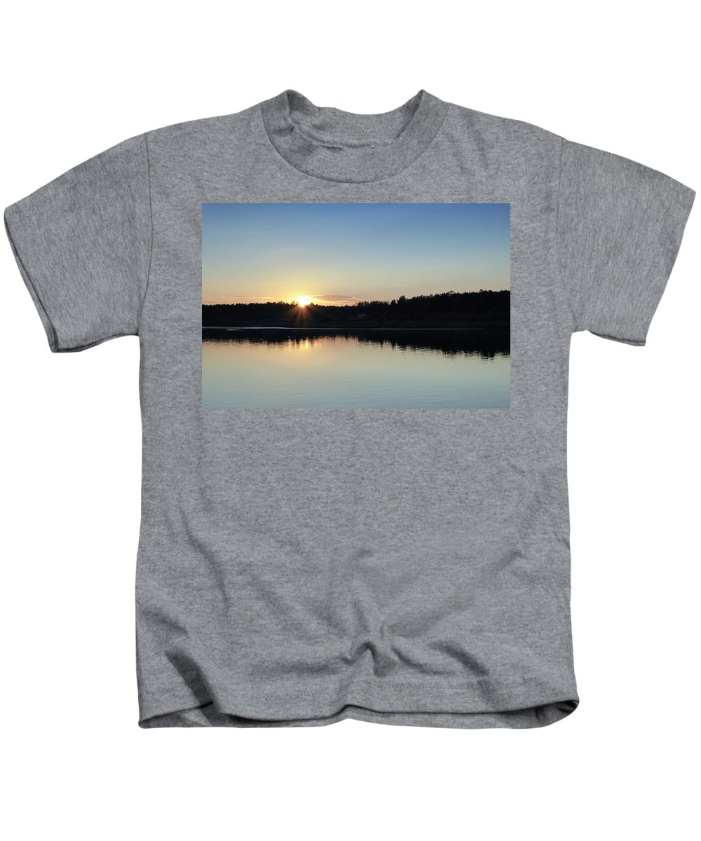 St. Basils Cathedral Kids T-Shirt featuring the photograph Cruising The Volga River by Linda Dunn