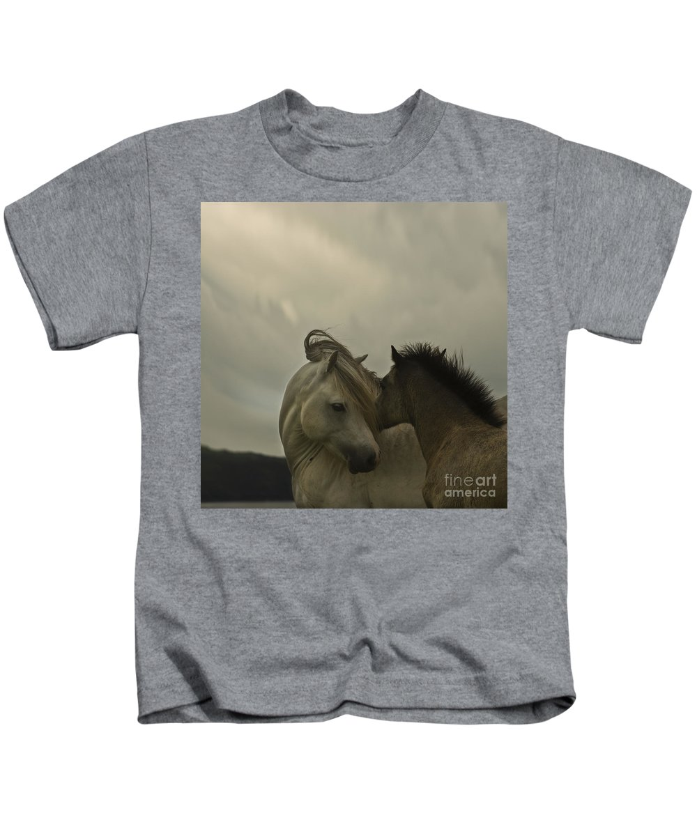 Horses Kids T-Shirt featuring the photograph Cuddle Me by Angel Tarantella