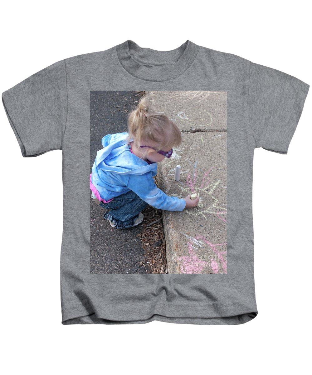 Child Kids T-Shirt featuring the photograph Curbside Artist by Ann Horn