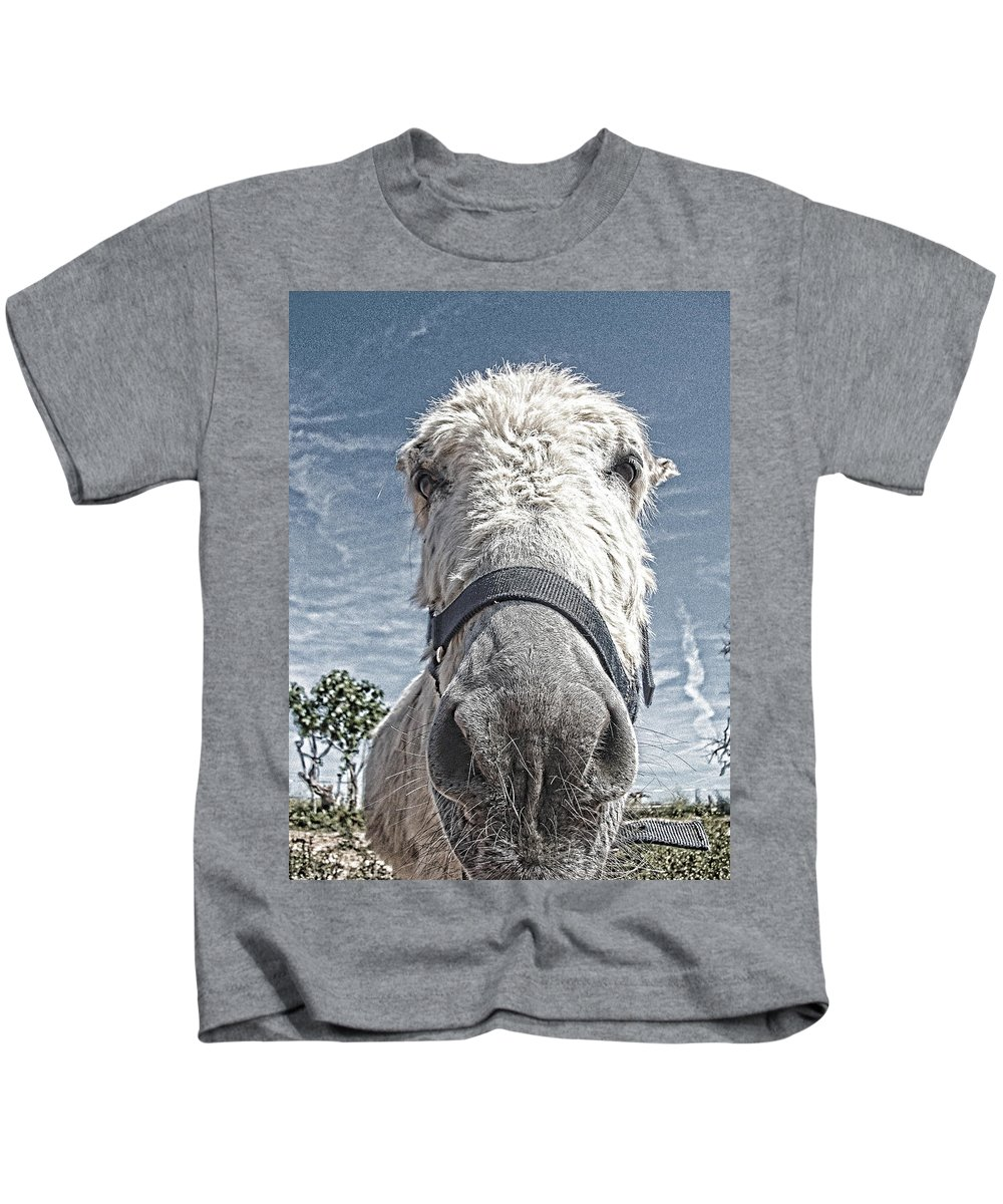 Donkey Kids T-Shirt featuring the photograph Curious Donkey by Pauline Flesseman