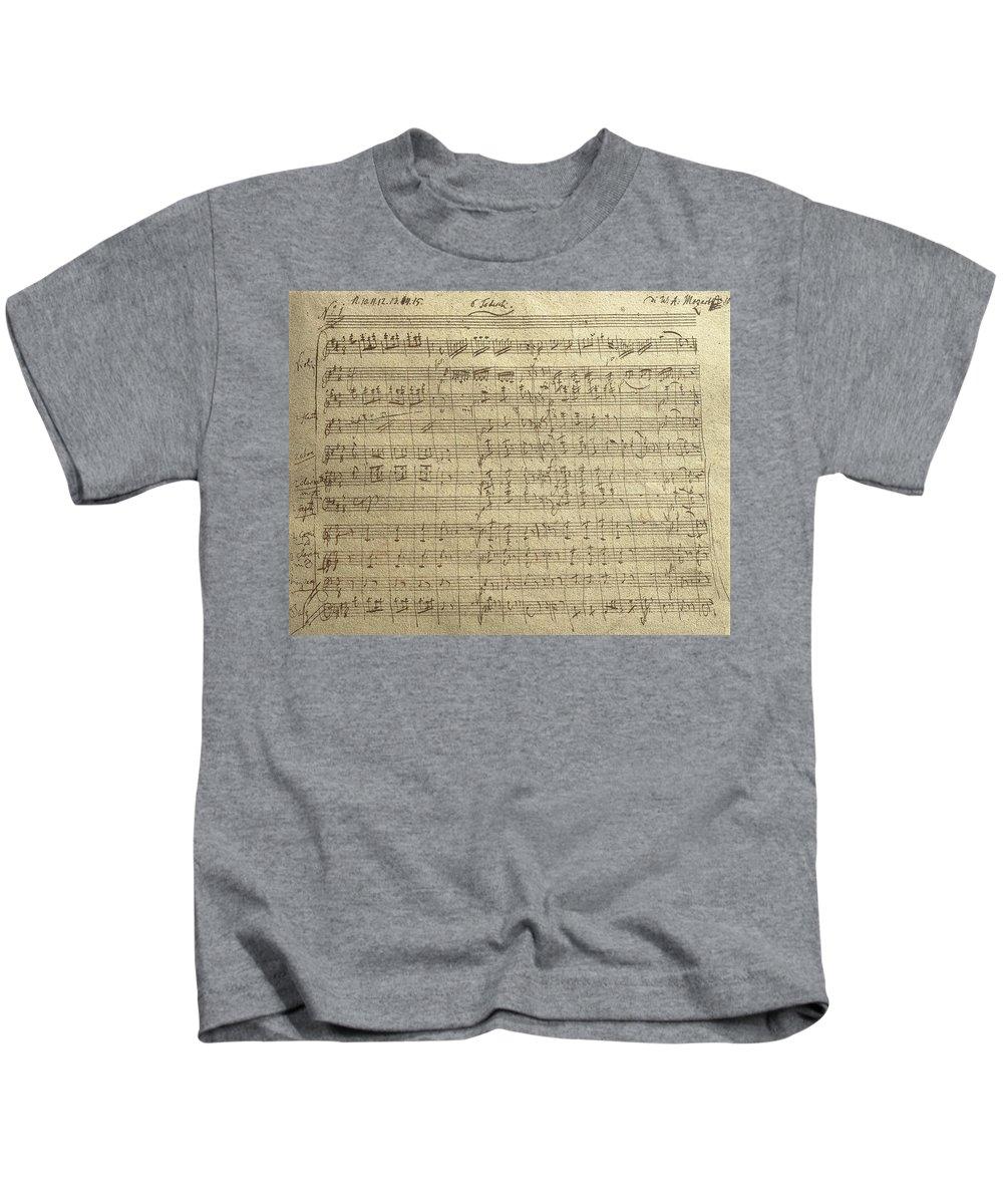 Music Kids T-Shirt featuring the painting Czech Republic Prague Symphony No. 38 In D Major Called Prague Symphony by Wolfgang Amadeus Mozart
