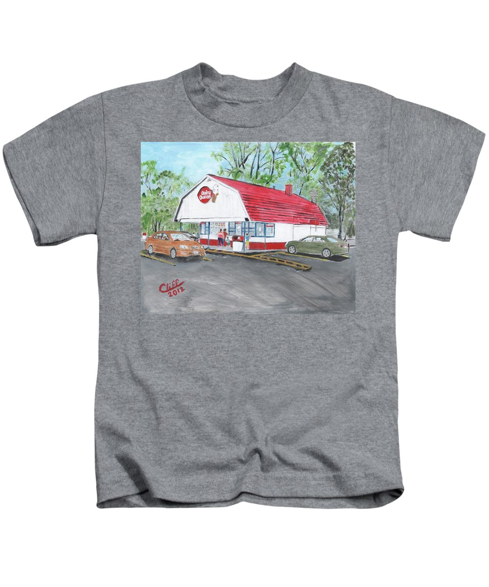 Building Kids T-Shirt featuring the painting Dairy Queen by Cliff Wilson