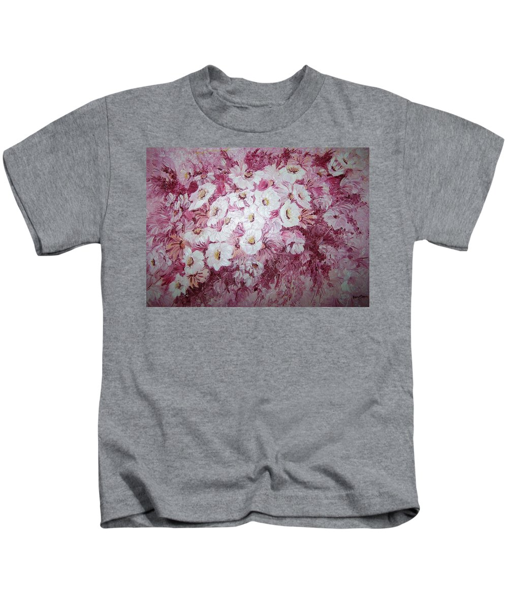 Kids T-Shirt featuring the painting Daisy Blush by Karin Dawn Kelshall- Best