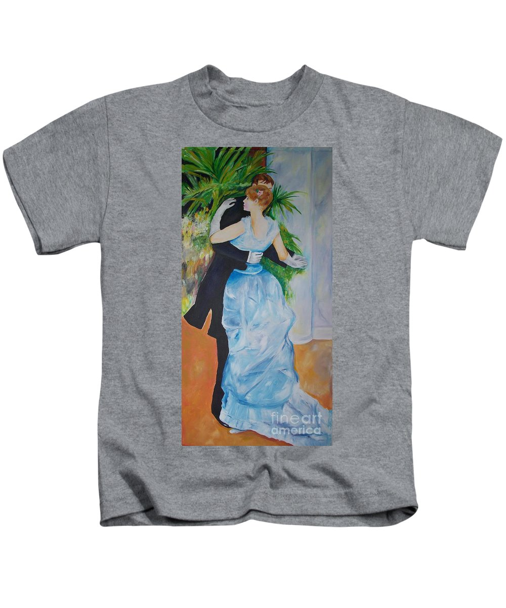 Lavender Kids T-Shirt featuring the painting Dance In The City by Eric Schiabor