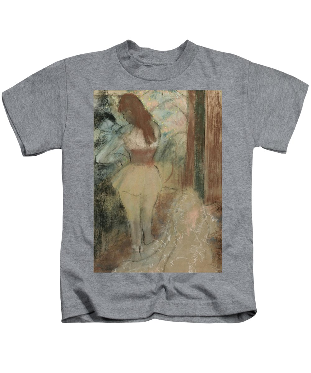 Edgar Degas Kids T-Shirt featuring the drawing Dancer Dressing by Edgar Degas