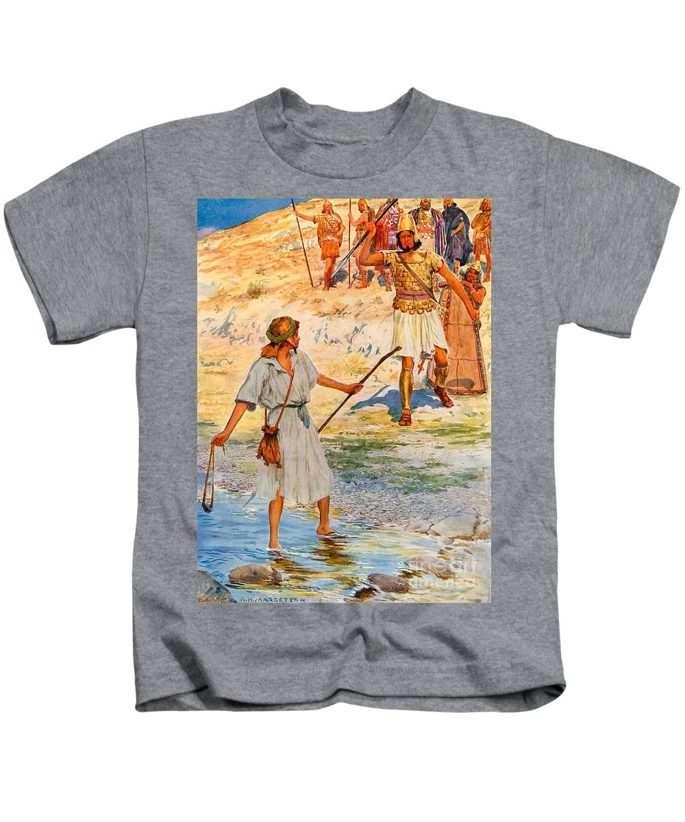 Bible; David; Goliath Kids T-Shirt featuring the drawing David And Goliath by William Henry Margetson