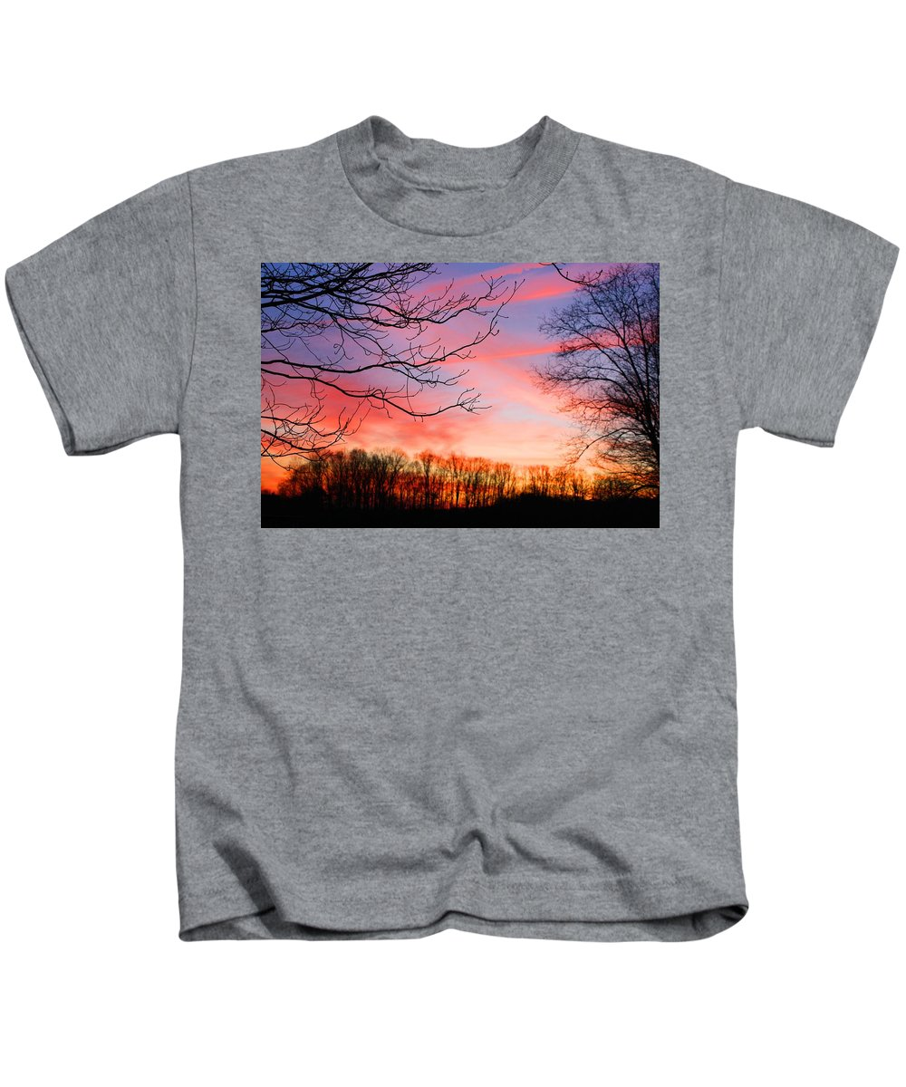 Sunset Kids T-Shirt featuring the photograph Day's End by Kathryn Meyer