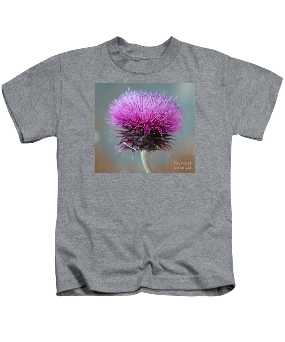 Thistle Kids T-Shirt featuring the photograph Dazzling Thistle Beauty by Christiane Schulze Art And Photography