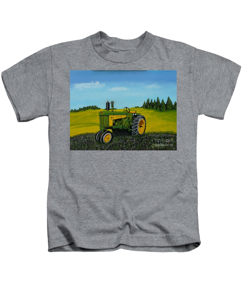 John Deere Kids T-Shirt featuring the painting Dear John by Anthony Dunphy