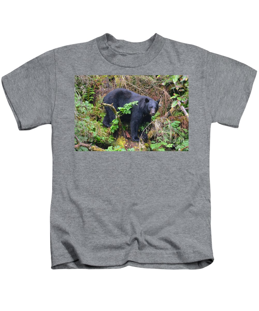 Bear Kids T-Shirt featuring the photograph Debating A Fish Dinner by Deanna Cagle