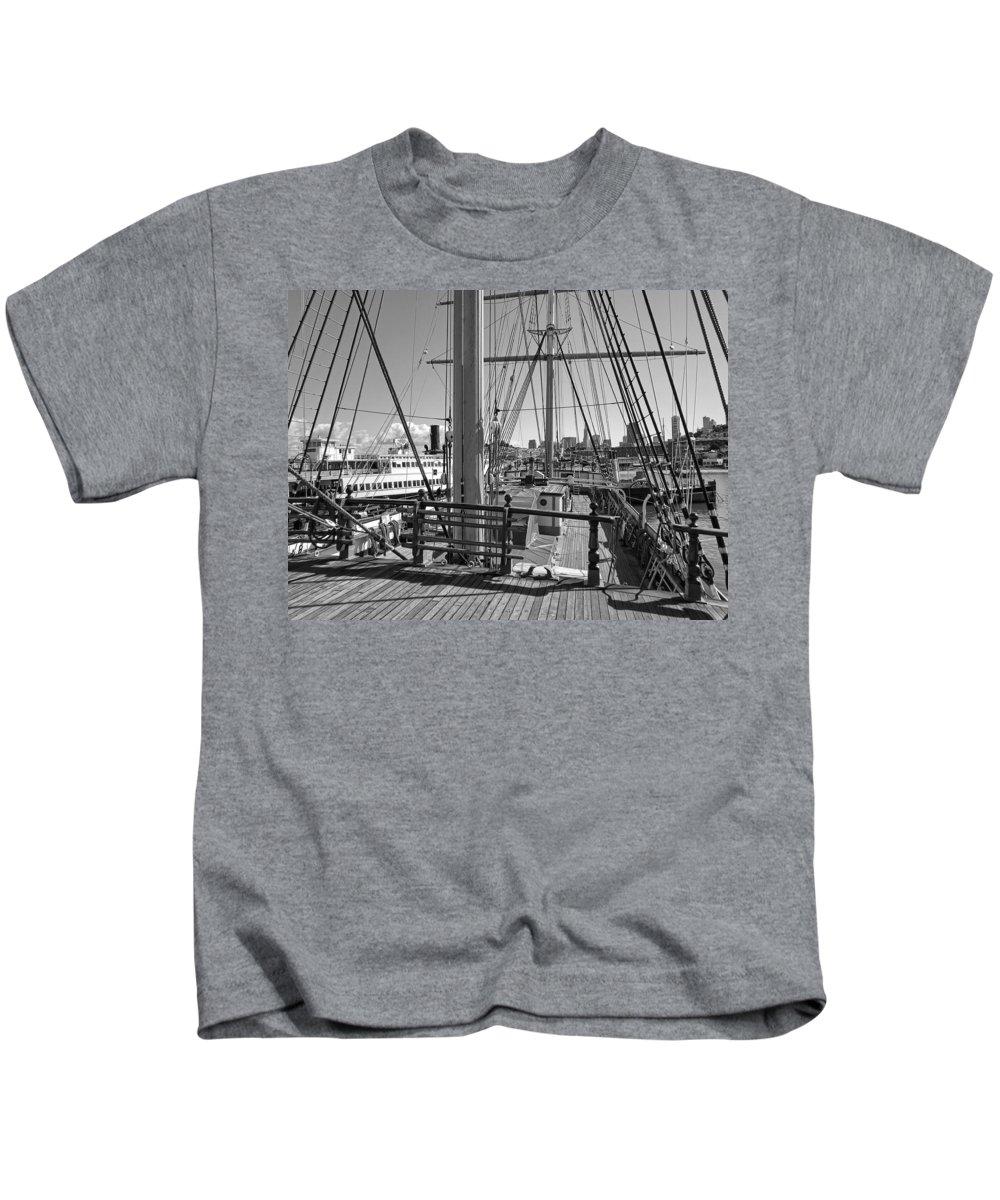 Balclutha Kids T-Shirt featuring the photograph Deck Of Balclutha 3 Masted Schooner - San Francisco by Daniel Hagerman