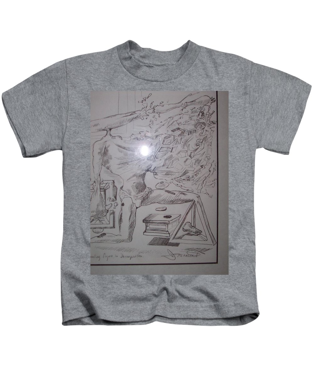 Kids T-Shirt featuring the painting Decomposition Of Kneeling Man by Jude Darrien