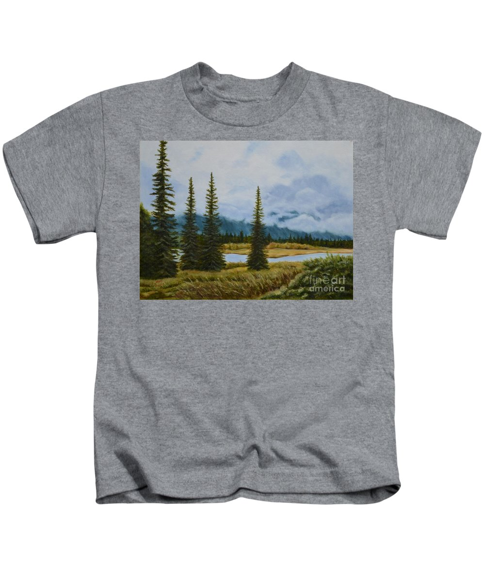Usa Kids T-Shirt featuring the painting Denali Morning by Mary Rogers