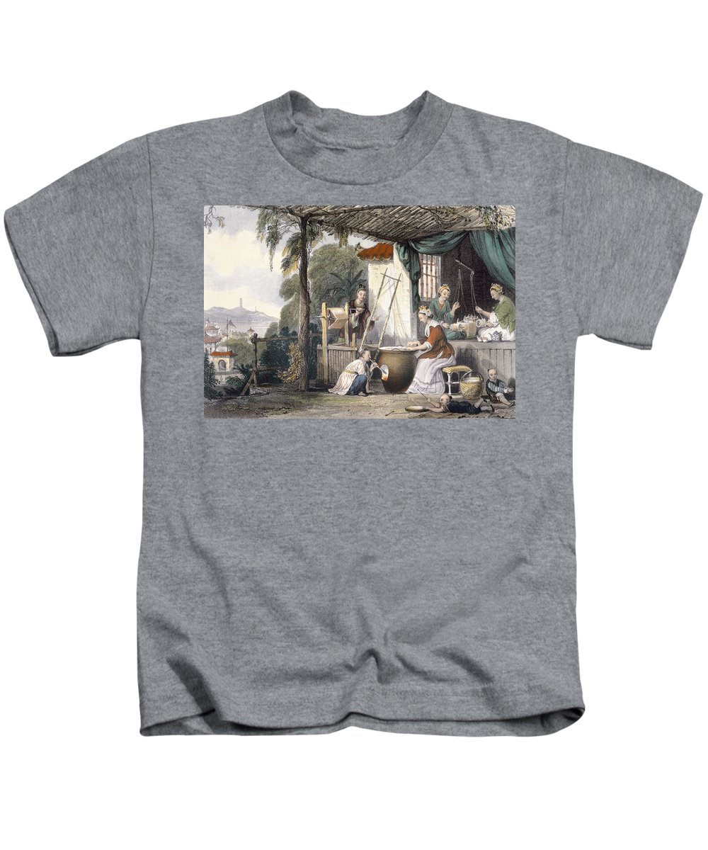 Print Kids T-Shirt featuring the drawing Destroying The Chrysalids And Reeling by Thomas Allom