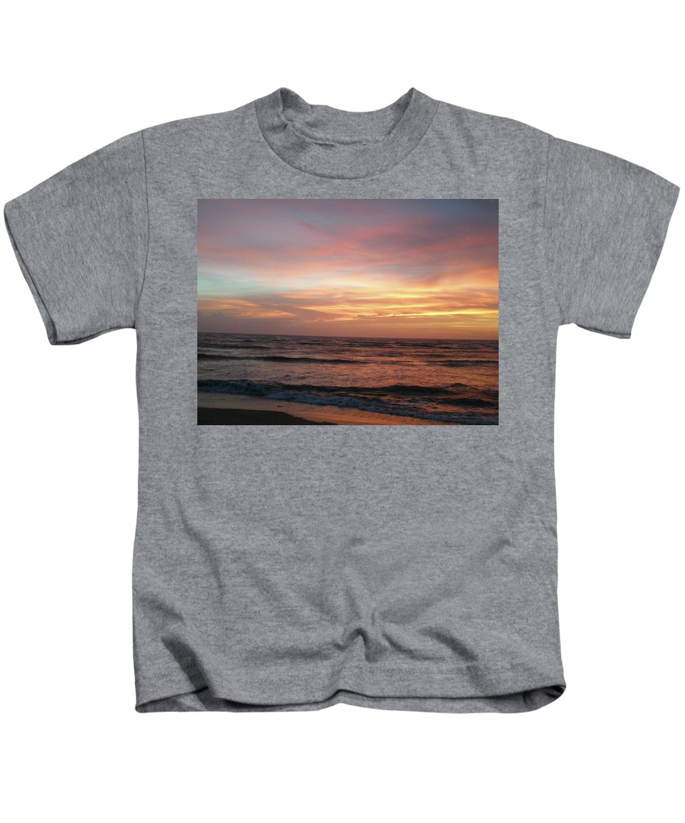 Sunset Kids T-Shirt featuring the photograph Diamond Shoals Sunset - Outer Banks Nc by Mother Nature