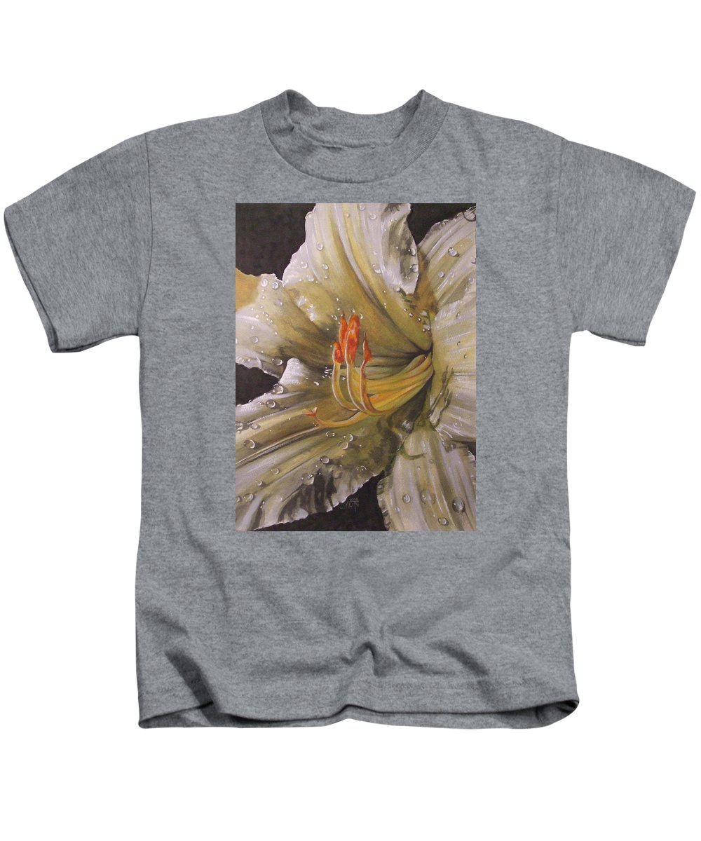 Daylily Kids T-Shirt featuring the painting Diamonds by Barbara Keith