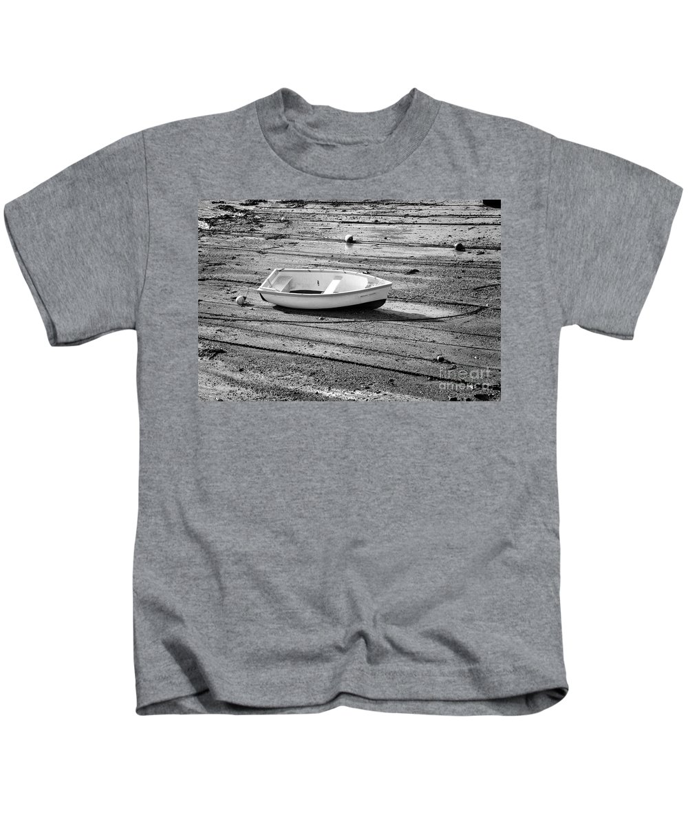 Dinghy Kids T-Shirt featuring the photograph Dinghy At Low Tide by Louise Heusinkveld