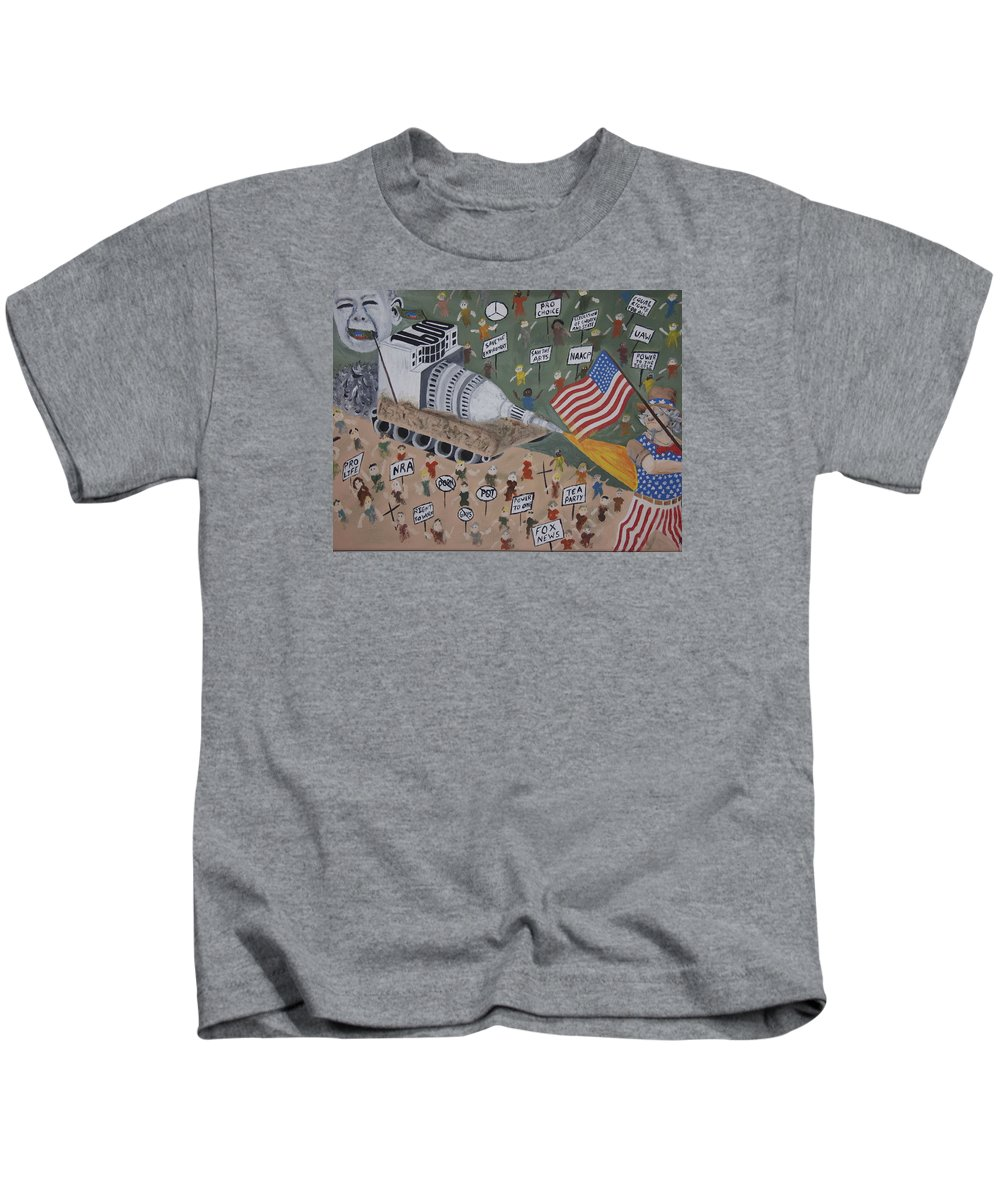 Political Satire Kids T-Shirt featuring the painting Divided We Stand by Dean Stephens