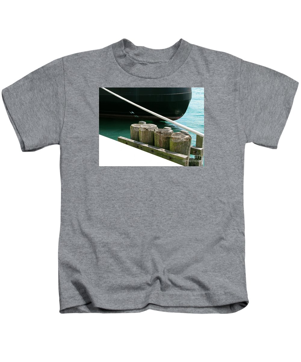 Ship Kids T-Shirt featuring the photograph Docked by Ann Horn