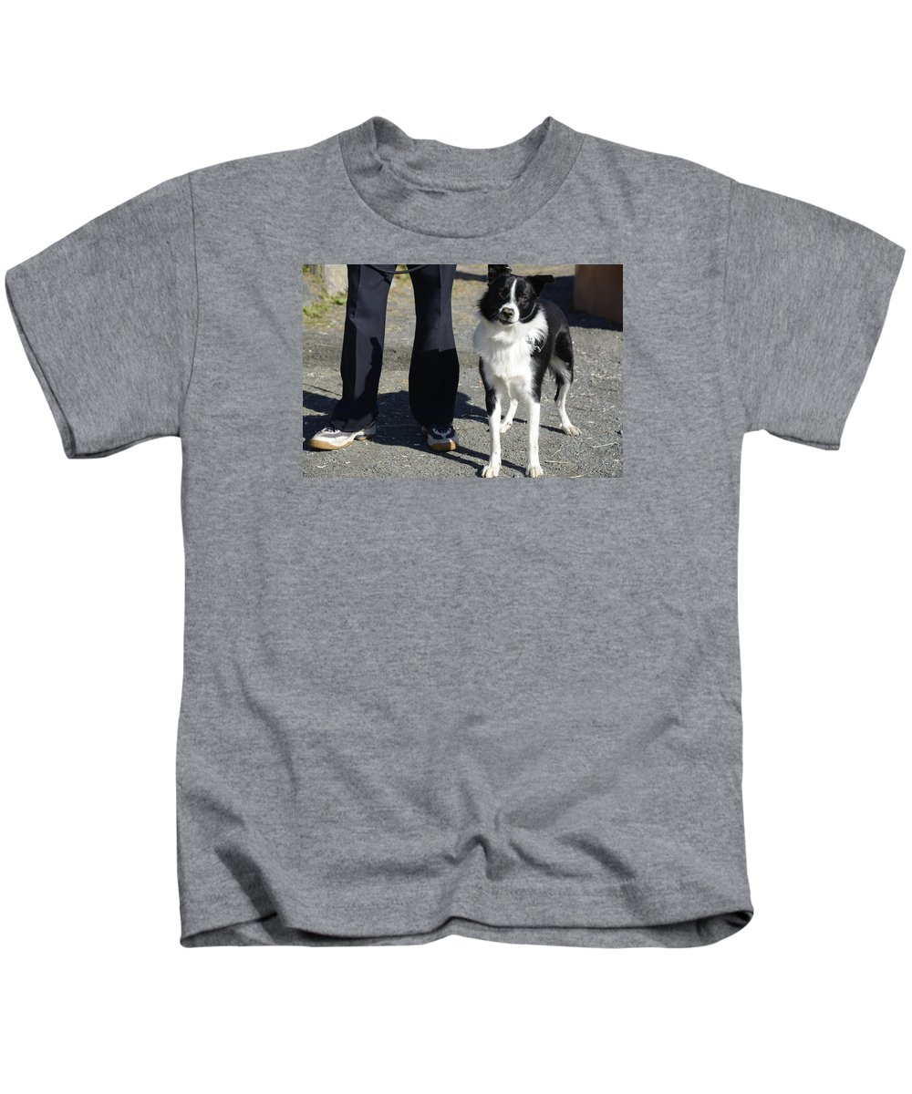 Dog And Friend Kids T-Shirt featuring the photograph Dog And True Friendship 9 by Teo SITCHET-KANDA