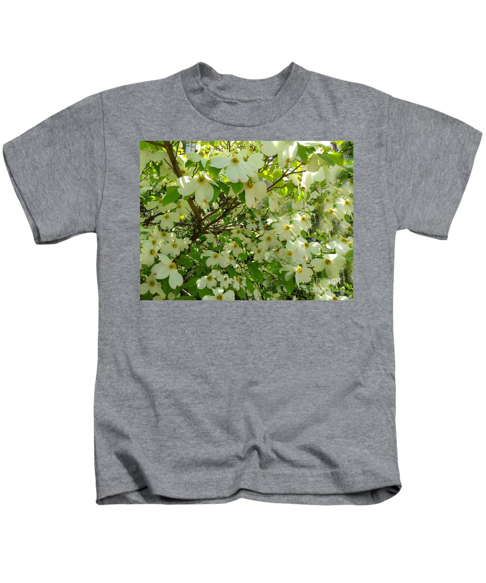 Dogwood Flowers Kids T-Shirt featuring the photograph Dogwood Kissed By The Sun by Becky Lupe