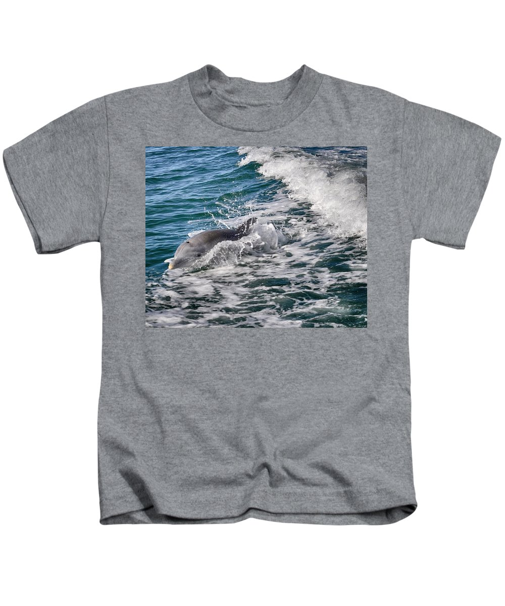 Dolphin Kids T-Shirt featuring the photograph Dolphins Smile by Kristina Deane