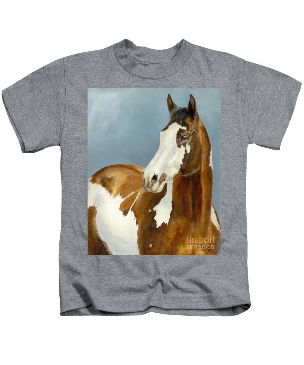Horse Kids T-Shirt featuring the painting Domino by Catherine Davis