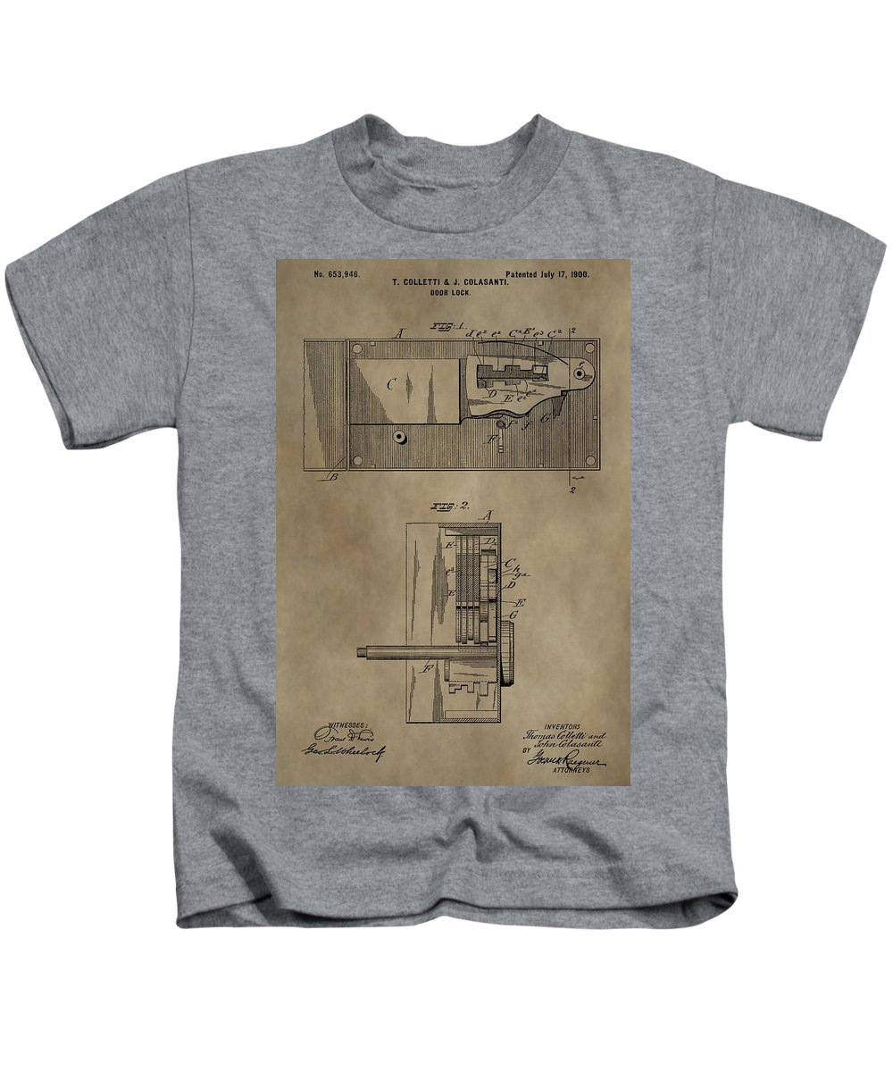 Door Lock Patent Kids T-Shirt featuring the mixed media Door Lock Patent by Dan Sproul