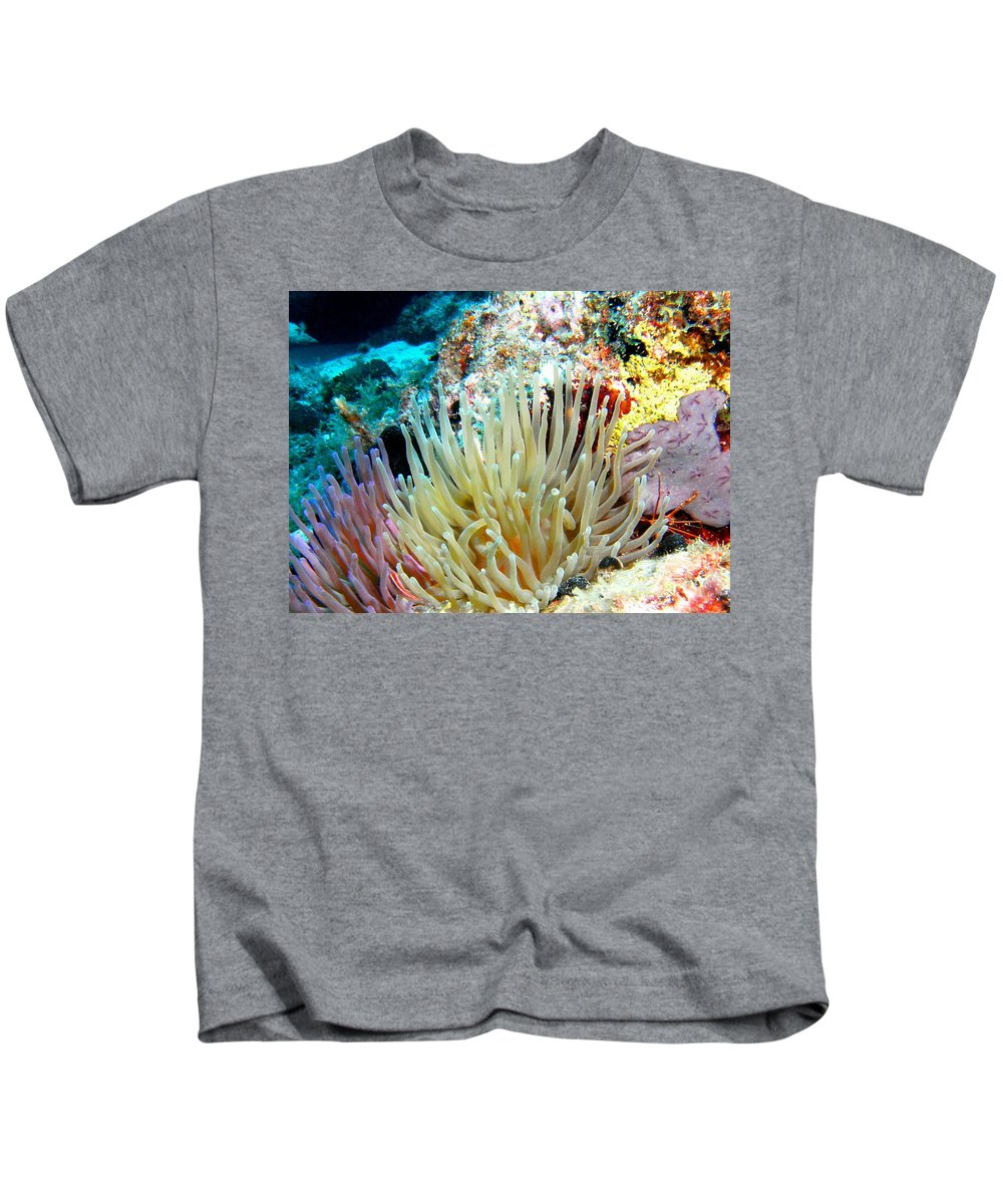 Nature Kids T-Shirt featuring the photograph Double Giant Anemone And Arrow Crab by Amy McDaniel